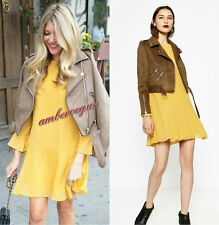 ZARA NEW MUSTARD YELLOW PLUMETIS SHORT DRESS SIZE L UK 12