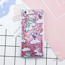 Cute Unicorn Bling Liquid Dynamic Glitter Back Case Cover for iPhone 5 6S 7 Plus
