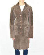 Vintage Brown Leather THE BARN Knee Length Button Women's Coat Jacket Size L