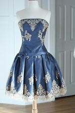 Jessica McClintock Dress Formal Prom Fit Flare Blue Lace Ballet 2 4 Small