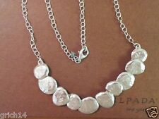 "SILPADA ""STILL SHINING"" TEXTURED STERLING SILVER DISC LINKED NECKLACE N1984"