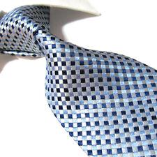 XL 100% Silk woven jacquard Tie,Silver/Blue Check Mens Necktie SW3223 Extra Long