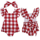 Newborn Infant Baby Girls Clothes Plaids Checks Romper Jumpsuit Bodysuit Outfit