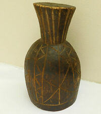 Antique African wooden object Tribal wood carving large cup? 11 inches pineapple