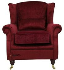 Ashley Fireside High Back Wing Armchair Perla Blaze Red Velvet Fabric