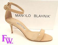 New MANOLO BLAHNIK Size 9 CHAOS Beige Nude 40 Heels Ankle Strap Sandals Shoes