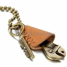 Leather Men Retro Skull Wrench Key Charm Pendant Surfer Necklace Bead Ball Chain