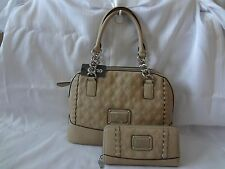 GUESS NEW NWT ALIVIA QUILTED DOME SATCHEL HANDBAG PURSE WITH MATCHING WALLET