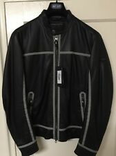 Men's Armani Jeans Black Perforated Leather Blouson, Size XL 54