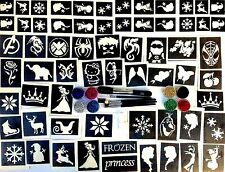 GLITTER TATTOO KIT boys and girls VALUE 62 stencils 8 glitters 1 glue  UK made