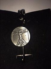 "VITRUVIAN MAN DR44 Scarf , Brooch and Kilt Pin Pewter 3""  7.5 cm"