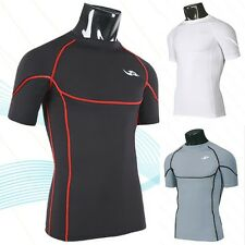 Sz M Men Workout Fitness T-Shirt Gym Bodybuilding Training Tight Base Layer Tops