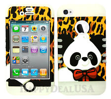 KoolKase Hybrid Silicone Cover Case for Apple iPhone 4 4S - Panda Leopard Brown