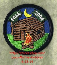 LMH PATCH Badge  FALL 2004 CAMPING AWARD  Camp Fire  LOG CABIN Moon Lodge Kids