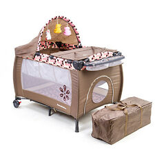 New Mamakiddies Pink Travel Baby Cot Crib Playpen with Mattress, Bag