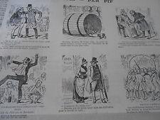 Caricature 19èm de 12 vignettes 1 Tonneau Diogène Numa Gilly St Pélagie
