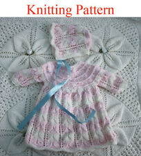 "Knitting pattern for 15 - 18 "" doll or premature baby dress and hat"