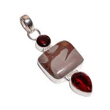 Superposición de plata esterlina 925 Jasper & Granate Collar Colgante de piedra con cadena