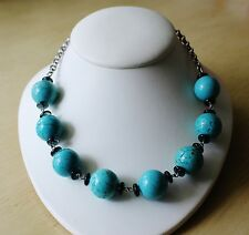 Vintage Silver Tone Turquoise Round Beads Blue Peking Glass Chain Necklace