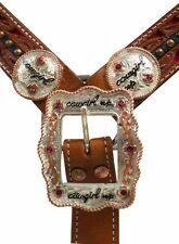 Tooled Leather COWGIRL UP Conchos Pink Rhinestones Belt Style Breast Collar