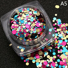 Glitter Nail Art Round Sequins Tips Colorful Shiny Decoration DIY For UV Gel