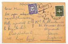AS129 1949 NETHERLANDS to GB Devon Postcard. 3d Postage due