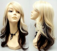 """Blonde Brown Wig Heat Resistant Safe Two Tone Long Wavy Layers Synthetic 18"""""""