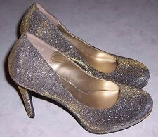 "FIONI NIGHT Gold Silver Sparkle 4.5"" Platform Heel Pumps Womens Shoes 9.5M EUC"