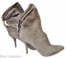 NINE WEST NWT $149 Chocolate Fashion Slouch Buckle Suede Boots Heels Pointy 7.5M