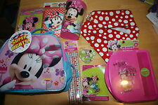 Disney Minnie Mouse Lunch box cup Keychain pencil eraser 9 piece school Set