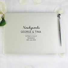 Personalised Classic Guest Book & Pen Set Wedding Reception Engagement Gift Idea