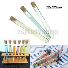 50 Plastic Test Tubes With Cork Stopper 15ML Volume Candy Party Wedding 150x15mm