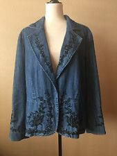 NWT Coldwater Creek Womens Embroidered Jeweled Denim Fully Lined Jacket Size 1X