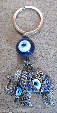"""KEYCHAIN (ELEPHANT) 4.2"""" Amulet, LUCKY, PROTECTION, Blue/White Beads Crystals"""