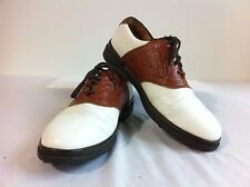 Callaway GOLF Saddle Shoes White w/Brown Mock Croc Leather Size 8M