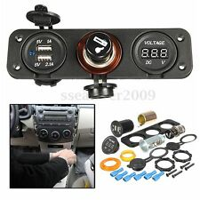 12V Car Cigarette Lighter+Dual Socket& USB Adapter Charger&Voltmeter Digital Set