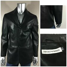 EMPORIO ARMANI Black Lamb Leather Blazer Jacket Coat 50 US Sz 40R