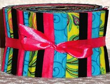 "Jelly Roll Fabric 2.5"" Strips Quilting Fabric Turquoise Pink Lime Green Black"