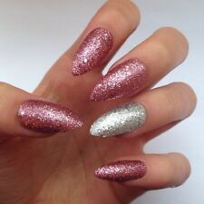 12 Pink & Silver Glitter Accent Nail False Fake Stiletto Nails Set makeup beauty