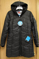 NEW Columbia Morning Light Omni-Heat Hooded Long Jacket Womens S Black