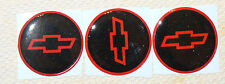 "NEW CHEVY STYLE 2"" RED & BLACK & RED DOMED BOW TIE Center Cap STICKER DECALS"