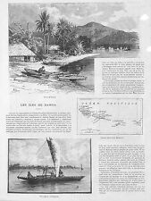 ILES SAMOA ISLANDS ARTICLE DE PRESSE APIA 1889