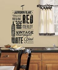 22 New WINE LOVERS WALL DECALS Black Kitchen Stickers Deco Home Decor