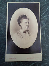 Antique Cabinet Photograph SMART DARK HAIRED GIRL+BROOCH+EARRINGS ~ By Gregson