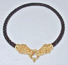 "Rare OTC ITALY 18K Yellow Gold DRAGON & Black Leather Necklace (23.3g, 16.5"")"