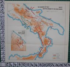 WW2 MAP ~ INVASION OF ITALY ADVANCE BATTLE OF RIVER SANGRO 8th ARMY 5th US ARMY