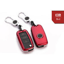 Red FOB Flip Car Key Cover Cap Shell Protection Fit For VW SEAT SKODA Octavia