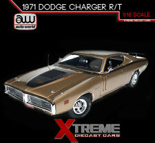 AUTOWORLD AMM1086 1:18 1971 DODGE CHARGER R/T GOLD 440 6 PACK 50TH ANNIVERSARY