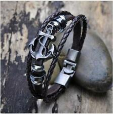 Leather Surfer Hot Steel Studded Vintage Cuff Metal Bracelet Bangle Men Anchor