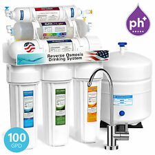 10 Stage Undersink Reverse Osmosis RO Water Filter System Alkaline pH+ 100 GPD